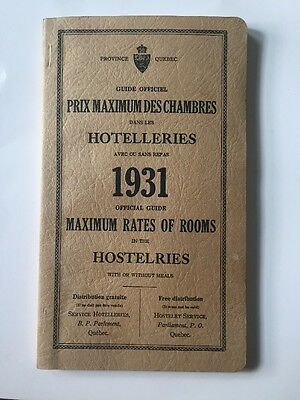 Hostelries Canada 1931 Visitor Tour Book Lodgings in Canada