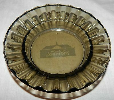 HOWARD JOHNSON'S Round Ashtray Vintage Smoke Gray Glass GUC Advertising Hotel