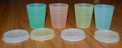 Vintage Pastel Tupperware 2 oz Mini Midgets containers with lids set of 4
