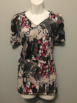 Koi Stretch Scrub Top Sz Xl Splashes Black Gray White Pink Medical