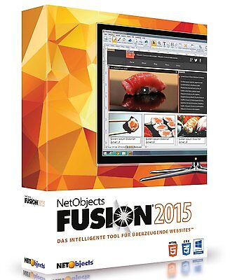 Net Objects Fusion 2015 deutsch CD/DVD Netobjects Website Tool + DriverGenius 15