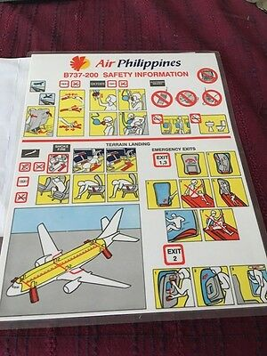 Vintage Phillipine Airlines 737-200 Safety Information Card NOS