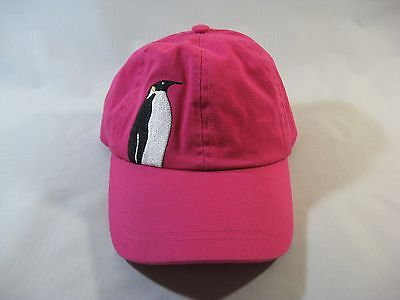Falkland Islands Bright Pink W/Embroidered Penguin Cotton Child's Cap Hat