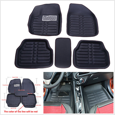 5Pcs Universal Car Floor Mats FloorLiner Front&Rear Carpet Fits All Weather Mat