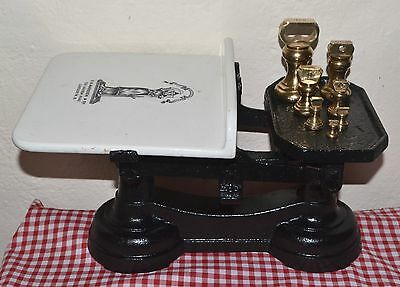 Vintage English  C1900 V H Marsden & Co Iron & Ceramic Scales 7 Bell Weights