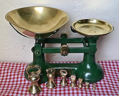 """English """"the Viking"""" Green Cast Iron Kitchen Balance Scales 7 Brass Bell Weights"""