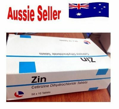 500 Cetirizine Hydrochloride 10mg Tablets Antihistamine Anti Allergy Generic Zin