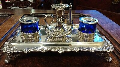 Antique Sterling Silver Inkstand with Chamberstick 1839-40 665g
