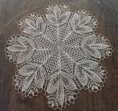 True Vintage Set 2 Ecru Knotted Lace Center Doilies 17""