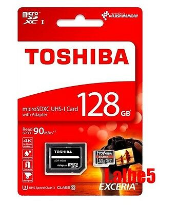 Toshiba EXCERIA 128GB Micro SD SDXC 90MB/s Class 10 UHS-I Memory Card w/Adapter