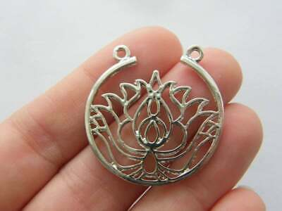 3pcs Lotus Flower Connector Charms Silver Tone 24x15mm B0089297