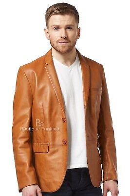 Mens Leather BLAZER TAN Classic ITALIAN Tailored Soft REAL LEATHER
