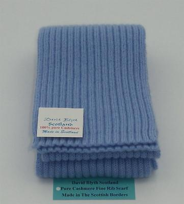 Kiddies Pure Cashmere Knitted Scarf - Fine Rib Design - Pervinca Blue