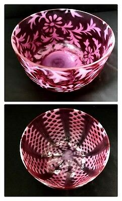 2 Victorian Art Glass Finger Bowls RED Cranberry Daisy Fern Lattice Crisscross