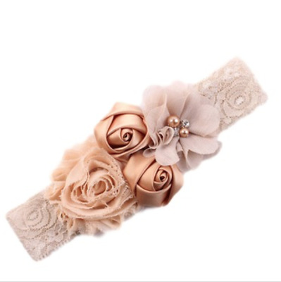 NEW Beautiful Flowers & Lace Girl's Head Band, UK Seller
