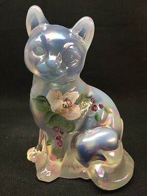 "Fenton Art Glass Hand Painted "" Royal Lenten Rose "" Cat"