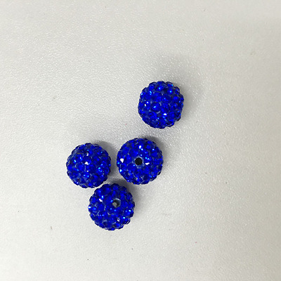 10MM Royal Blue Polymer Clay Rhinestone Pave Disco Shamballa Beads 50/100pcs