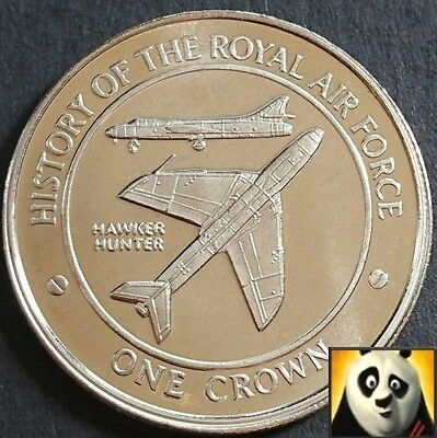 2008 GIBRALTAR 1 One Crown History of RAF Royal Air Force HAWKER HUNTER Coin