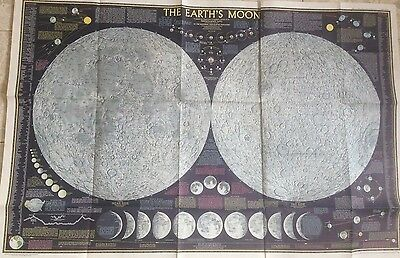 """Vintage 1969 National Geographic """"THE EARTH'S MOON"""" Map Poster"""
