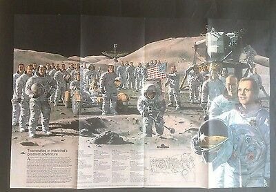 Vintage National Geographic MAP Poster NASA Mankind on MOON Apollo September 73'