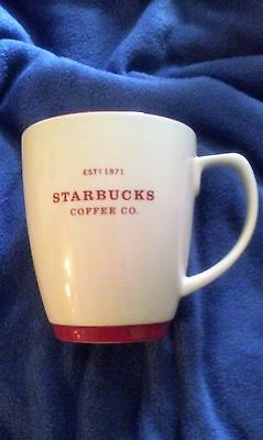 Starbucks 2007 Off White Coloring With Red Trim Coffee Mug/cup!