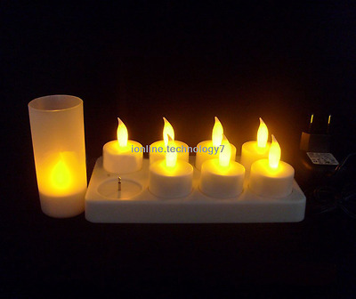 6pcs RECHARGEABLE LED FLAMELESS TEA LIGHTS CANDLES WITH HOLDERS AND CHARGER
