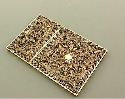Antique Victorian Silver Gilt Filigree Card Case
