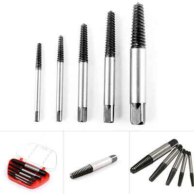 5pc Screw Extractor Drill Bit Guide Broken Damaged Bolt Remover Easy Out