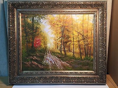 Oil Painting on Canvas of a Wonderful Golden Fall Forest Scene