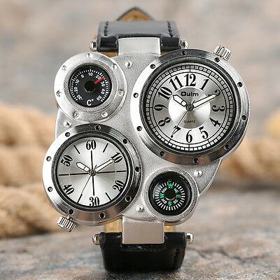 OULM Two Time Zone Black Leather Band Strap Men Military Quartz Wrist Watch Gift