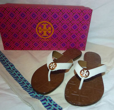 1fa139af916139 Tory Burch THORA Flip Flop Thong Sandals Bleach White Leather Gold Size 10  NEW