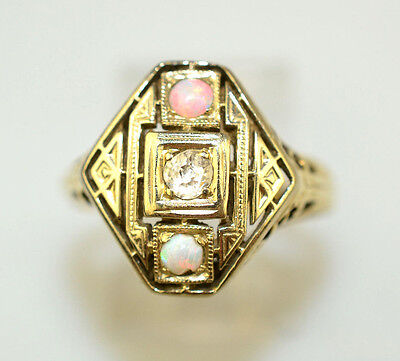 Antique Art Deco 14K Yellow Gold Filigree Ring With Diamond & 2 Opals Size 6.25