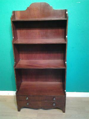 Good vintage mahogany waterfall bookcase ebony banding
