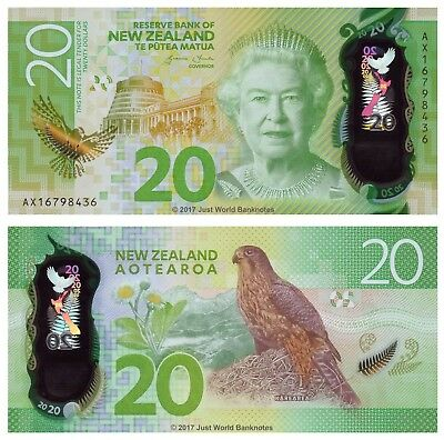 New Zealand 20 Dollars 2016 Polymer  New Design  P-New  UNC