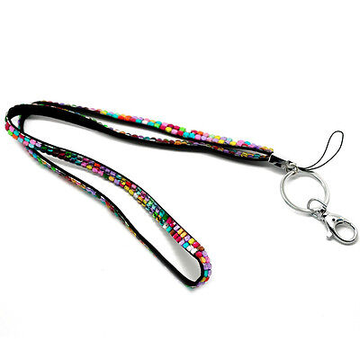 1 lanyard ID/phone card colorful clasp ring rhinestone acrylic 45cm BF