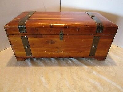 "Antique Cedar Chest Lingerie Trunk 20"" Salesmen Sample copper tone decor Vintage"