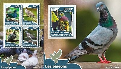 Z08 Imperforated CA16011ab CENTRAL AFRICA 2016 Pigeons MNH Set