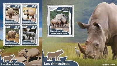Z08 Imperforated CA16006ab CENTRAL AFRICA 2016 Rhinoceros MNH Set