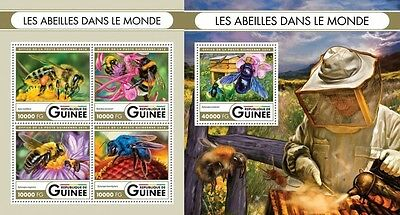 Z08 IMPERFORATED GU16402ab GUINEA (Guinee) 2016 Bees MNH Set