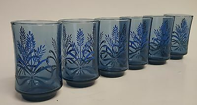 6 Libbey Blue Harvest Wheat Bow Ribbon Juice Glasses Vintage Blue Small Glasses