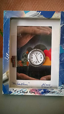 Upcycling-Collage mit Uhr, Unikat handmade, sign.dat. #0015