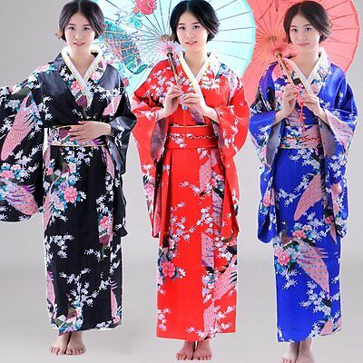 Newest Traditional Japanese Kimono Elegant Floral Yukata Lady Performance Gown