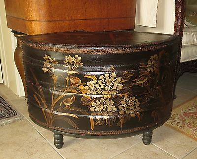 Antique Chinese Hand-Painted Leather Stacking Boxes/Wedding Box? Side Table