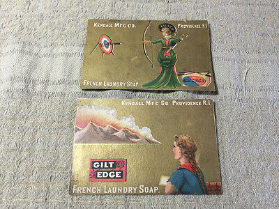 2 Victorian Trade Cards Kendall MFG Co Providence RI French Laundry Soap