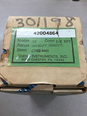 "New In Box Trend Instruments Bimetal Thermometer Model 32 100/800F Range 6"" Stem"