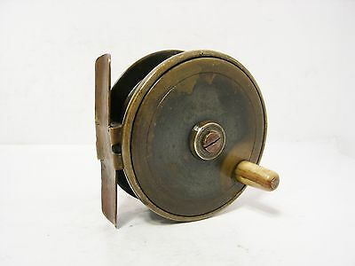 "Vintage Antique 3"" Brass Platewind Fly Fishing Reel"