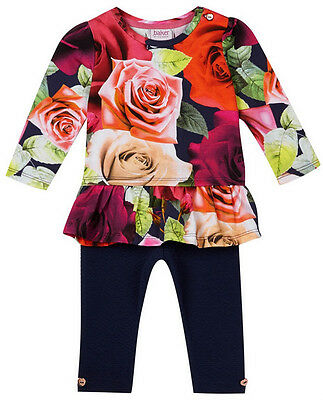 New Designer Ted Baker Baby Girls Rose Party Dress Leggings Outfit 0-3 Months
