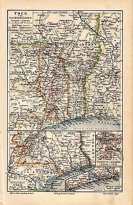 1908 Antique Lithography Print German Meyers Plate Map TOGO NEIGHBOUR COUNTRIES