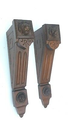 Pair of Rare Lion Head Antique Corbels Architectural Accents