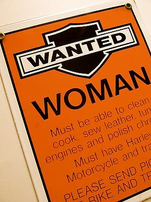 "Vintage 10"" x 8"" HARLEY DAVIDSON Porcelain Woman Wanted Advertising Sign"